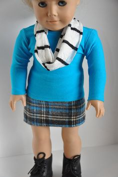 American Girl Doll Clothes Gray and Aqua Blue by CircleCSewing, $15.00