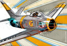 (I want the giant picture!!!) Airplane POP art print from an original illustration of a F86 Sabre Jet warbird fighter plane 13x19.. $50.00, via Etsy.