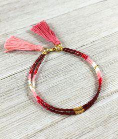 Boho Beaded Friendship Bracelet, Red Ombre Tassel Bracelet, Dainty Fall Layering Bracelet, Bestfriend Gift