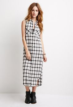 Longline Plaid Shirt Dress | Forever 21 - 2000054173