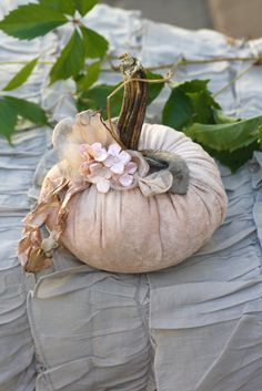 beautiful fabric pumpkin possibly for a fall wedding decoration?