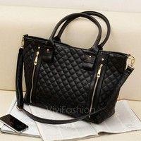 Creo que Black Retro Women Office Lady Quilted Shoulder Tote Bag Handbag Fashion VVF te gustará. Agrégalo a tu lista de deseos   http://www.wish.com/c/5395121d7360460e28973cc7
