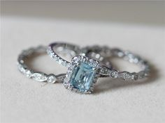 5x7mm Blue Aquamarine Ring w/ Matching Band Wedding Ring Set 14K White Gold Ring Diamond Engagement Ring Wedding Ring -3 Rings Set by AbbyandWills on Etsy