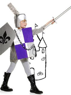 This last-minute costume idea is a lifesaver. Just dress your knight from head to toe with everyday household items. Arm your Prince Charming with a milk-jug helmet, grocery bag armor, and a cardboard sword that will no doubt slay the whole neighborhood. Medieval Party, Medieval Costume, Halloween Costumes To Make, Halloween Diy, Kid Costumes, Cardboard Sword, Dragons, Castle Party, Medieval Helmets