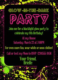 Customized Glow In The Dark Party Invitation by Sweet Lemon Designs on Etsy