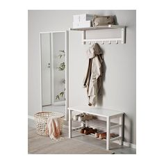 TJUSIG Bench with shoe storage - white, 81x50 cm - IKEA