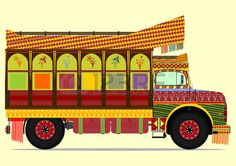 The old jingle truck Vector illustration without gradients on one layer Stock Vector Truck Art Pakistan, Rajasthani Art, African Crafts, Indian Art Paintings, Abstract Paintings, Truck Paint, Interior Design Images, Traditional Paintings, Cartography