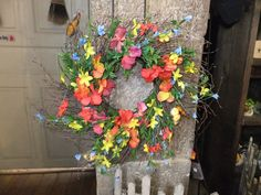 Poppies and butterflies! Fun - colorful wreath.