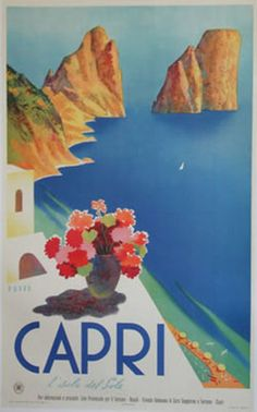 Capri, Italy. Colorful vintage travel poster.
