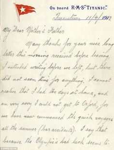 How Titanic captain's steward wrote of fears that doomed liner was cursed just days before it sank Titanic History, Rms Titanic, Titanic Ship, A Night To Remember, Modern History, Interesting History, Titanic Poster, Writing, Day