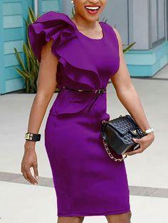 bbb937b1209e Stylish Ruffled Patchwork Sleeveless Bodycon Dress Trendi Ruhák, Őszi  Outfitek, Peplum Ruha, Testhezálló