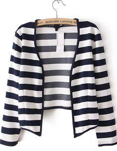 Navy and White Stripes Collarless Open Crop Blazer US$22.79
