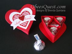 Hershey's Heart Box (Sweet & Sassy Heart Boxes) | Tutorial, Sweet & Sassy Framelits, Simply Scored, Hershey's Kisses, Sealed with Love Stamp Set, Love Notes Framelits, Duet Banner Punch, Stampin' Up, Qbee's Quest, Brenda Quintana