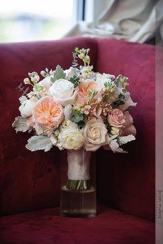 Garden Roses, Ranunculus, Spray Roses, Stock, Dusty Miller, Eucalyptus; Bridal Bouquet; September 2014; Design Perfection Weddings