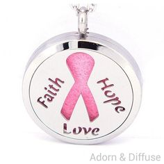 Ribbon of Hope, Faith & Love Diffuser Locket Necklace