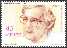 Sello de España en honor a la filósofa y ensayista malagueña, María Zambrano (Vélez-Málaga, 1904 - Madrid, 1991).