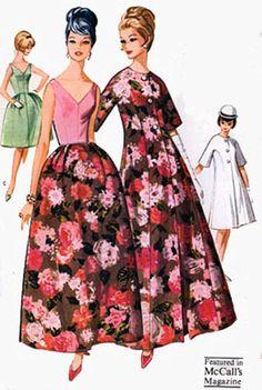 Evening gown dress floral pink black coat jacket cocktail 1960s McCalls 6720 Low V Neck and Back Formal Dress by sandritocat, $35.00