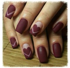 Deep red heart nails
