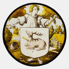 Roundel with Angel Supporting a Heraldic Shield, ca. 1530, South Netherlandish.
