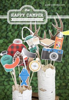 Paper and Cake | Camping Printable Photobooth Props | http://www.paperandcake.com