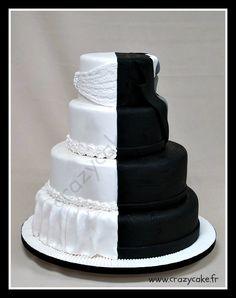 Bi-color wedding cake (bride and groom) Dual theme cake