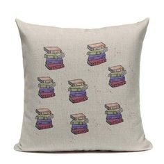 Cat Happy Reading More Book Cushion Cover Customized Linen Cotton Pillowcase Home Sofa Decorative Cotton Throw Decor Cojines