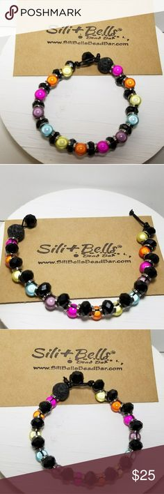Handmade Bead & Leather Bracelet Authentic Sili+Bells Bright Rainbow Black Bracelet. Black glass and bright, bold colored beads make a fabulous accent on your arm. Personalize something that makes you happy.  Jewelry Bracelets