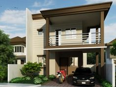 Pinoy House Design 201508 is a two storey residential house design which can be built in a minimum lot area of 85 m². Owners of this house will love the convenience of this two-car garage and a compressed but smart lay out inside. 2 Storey House Design, Two Storey House, Small House Design, Modern House Design, Modern Houses, Small Modern House Plans, Beautiful House Plans, Dream House Plans, Modern House Philippines