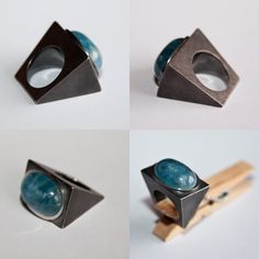 Oxidized silver with Aquamarine ring by Jèssica Bellí . http://www.jessicabelli-joies.com/