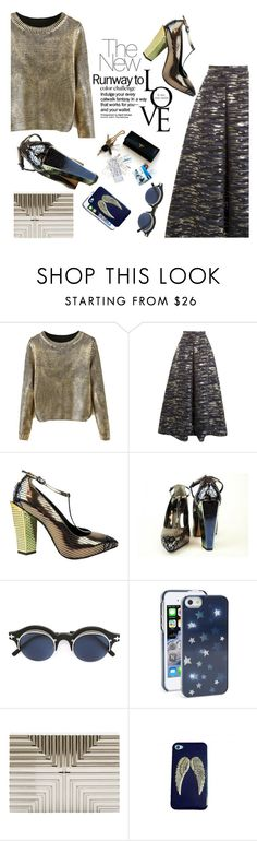 """""""Rock This Look: Blue and Silver"""" by malussieversii ❤ liked on Polyvore featuring Martin Grant, Fendi, Matsuda, Kate Spade and Lee Savage"""