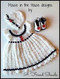 Hand crocheted infant set - hat, dress, shoes. 3-6M