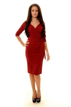 Bordeaux Hourglass Pencil Dress With ¾ Sleeves