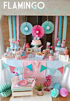 Discover thousands of images about Flamingo Party para Niños Flamingo Party, Flamingo Birthday, Girl Birthday, Birthday Parties, Candy Table, Candy Buffet, Party Decoration, Birthday Decorations, Shower Bebe