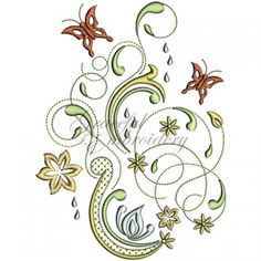 Floral grunge embroidery designs