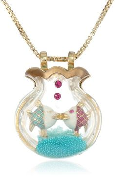 """Jewels of the Sea"" Fish Bowl Long Pendant #Necklace by Betsey Johnson #jewelry"