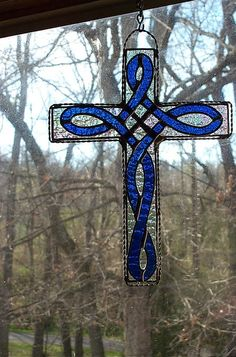Stained Glass Blue Celtic Knot Cross by CandJMountainGlass on Etsy, $30.00