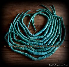 Blue Green Stabilized Turquoise Graduated Heishi Strand Rondelle Beads Eighteen Inch Strand Beading Supplies Purification Stone