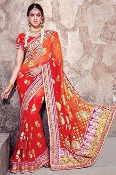 Red & Orange Banarsi Silk Embroidered Saree With Butta Work   #Invogue, #ethnicwear, #Singapore, #best #dresses, #online #shopping, #beauty, #Bollywood #Fashion, #Salwar #Kameez, #indian #sarees, #bestcollection. @moksh