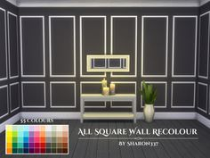Wall with Square in 55 different colours in all 3 Wall heights, Found in TSR Category 'Sims 4 Walls & Floors Sets'