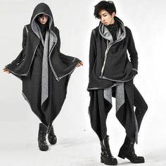 Buy 'deepstyle – Hanky Hem Asymmetric Zip Coat' with Free International Shipping… Kawaii Pullover, Kawaii Sweater, Dark Fashion, Asian Fashion, Love Fashion, Fashion Design, Mens Fashion, Cute Jackets, Long Jackets