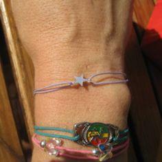 Bracelet à nœuds coulissants mauve et argent - etoiles