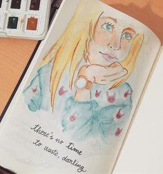 There's no TIME to waste, darling! - Artnestoltes 4th draw  #artnestoltes #drawing #draw #artwork #watercolor #watercolorpainting #doodle #sketch #sketchbook #alice #aliceinwonderland #illustration