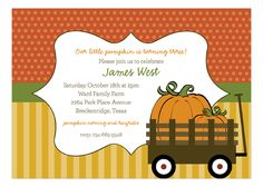 Polka Dot Design Fall Wooden Wagon Invitation. A customer favorite already. Throw the most stylish birthday for your little pumpkin!