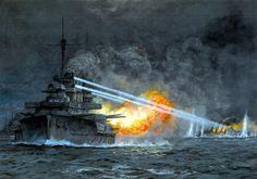 El SMS Thuringen hunde al crucero acorazado HMS Black Prince durante los combates nocturnos en Jutlandia.