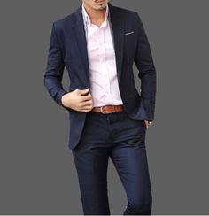 Navy suit, pink shirt