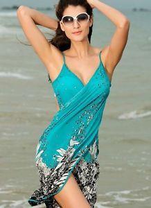 75a0a9c00f Saida de praia women summer Beach Dress Beach Cover Up Bikini Wrap Negril  floral Print crossed beachwear Sarong pareo