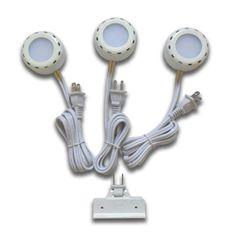 Utilitech 3 pack plug in cabinet led puck light kit 69 short cords utilitech pro 3 pack 26 in plug mozeypictures Images