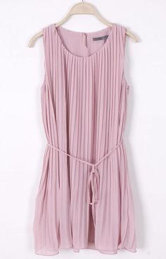 Pink Sleeveless Pleated Self-tie Shift Dress - Sheinside.com