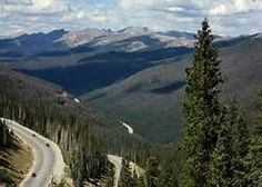 DENVER COLORADO---Lookout Mountain Road...at the top is Buffalo Bill's Burial site and museum and at the bottom is the city of Denver...slj