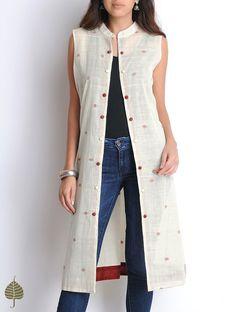 Buy Ivory Maroon Hand Woven Sleeveless Cotton Jacket by Jaypore Women Jackets Online at Jaypore.com